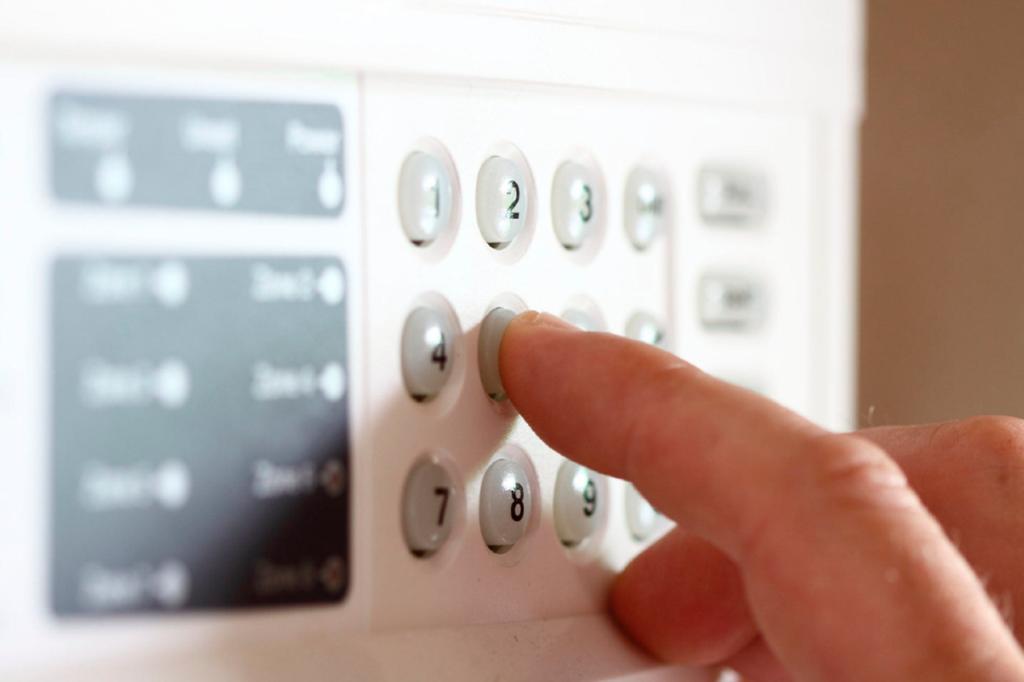 Pessoa ativando sistema de alarme e monitoramento